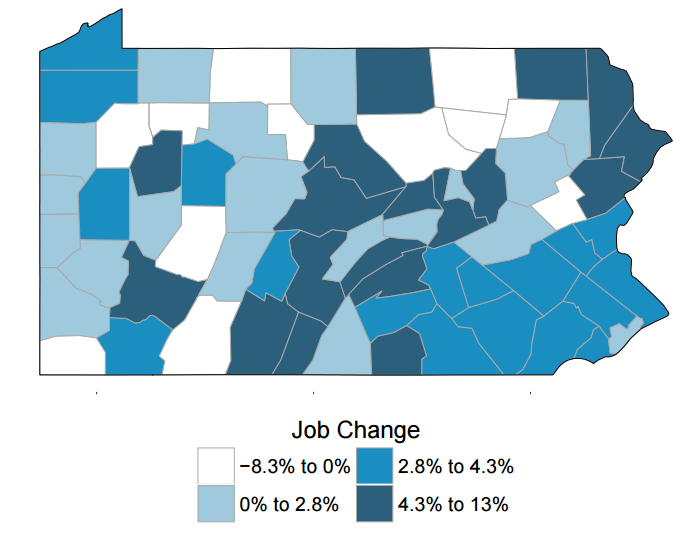 Pennsylvania New Firm Survey County Level Job Change